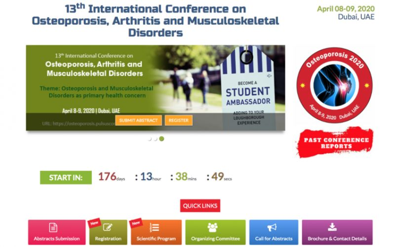 8-9 April 2020, 13th International Conference on Osteoporosis, Arthritis and Musculoskeletal Disorders; Dubai – POSTPONED