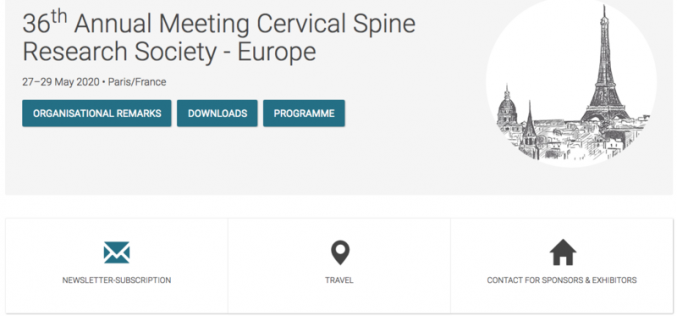 27-29 May 2020, 36th Annual Meeting Cervical Spine Research Society; Paris