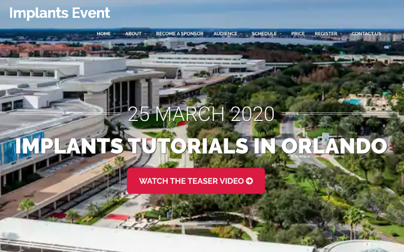 25 March 2020, Implants tutorial session; Orlando – CANCELLED