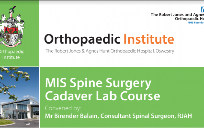 12-13 June 2020, MIS Spine Surgery Cadaver Lab Course; Oswestry