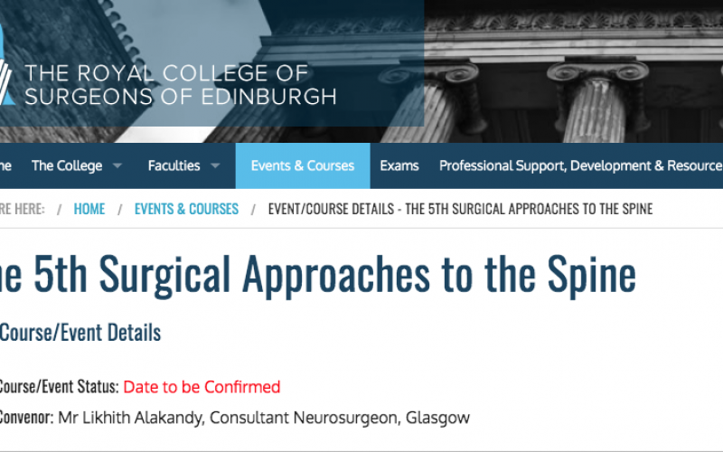 26-28 May 2020, The 5th Surgical Approaches to the Spine Course; Edinburgh – POSTPONED