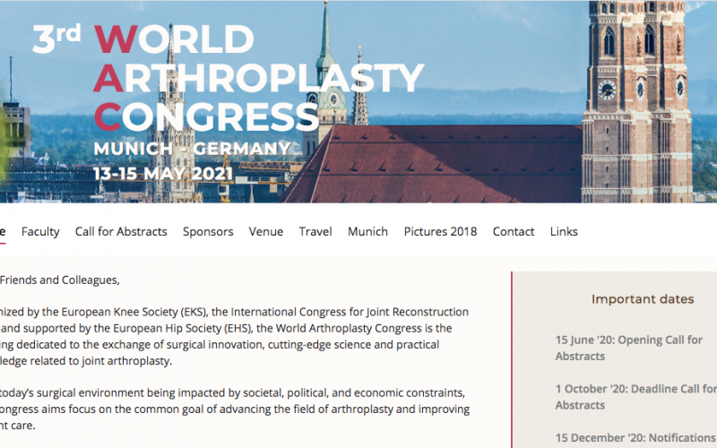 May 13-15 2021, World Arthroplasty Congress; Munich