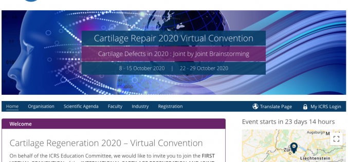 8 & 15, 22 & 29 October 2020, Cartilage Regeneration 2020; Virtual experience