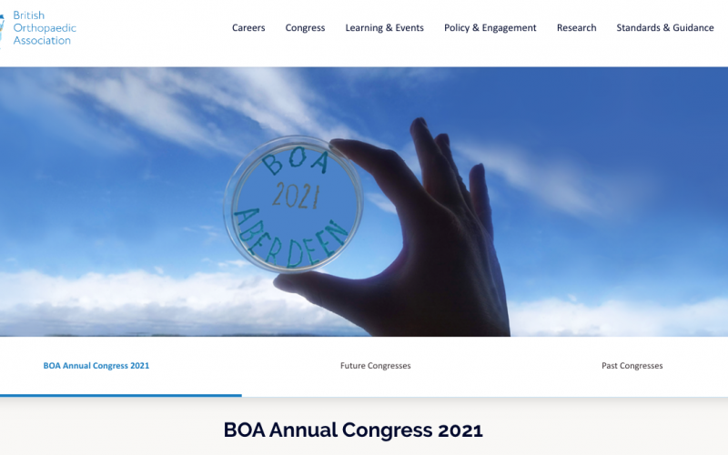 21-24 September 2021, BOA Annual Congress; Aberdeen