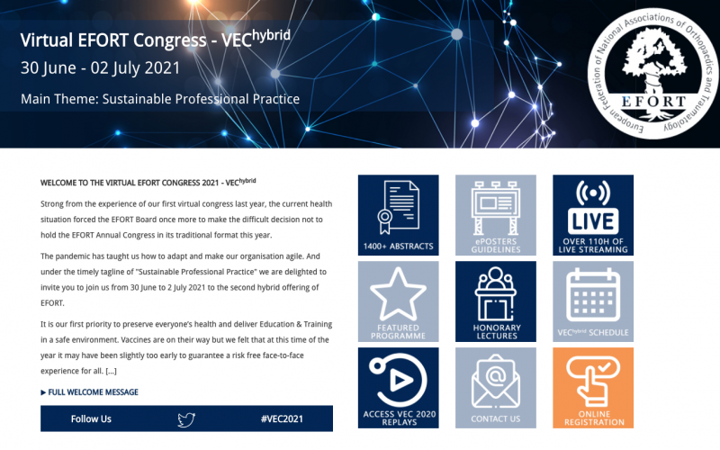 30 June – 2 July 2021, Virtual EFORT Congress; Online
